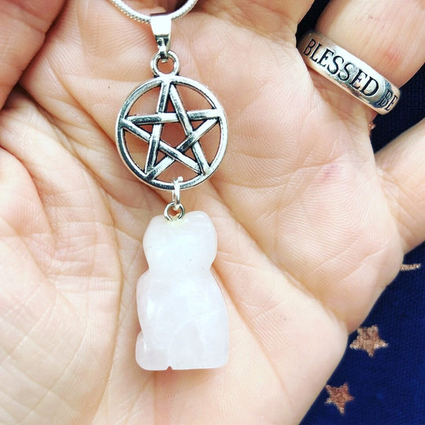 Jewellery,Home & Outdoor Decoration,Witch & Spell Craft Rose Quartz / Chain Cats Of The Craft Necklace