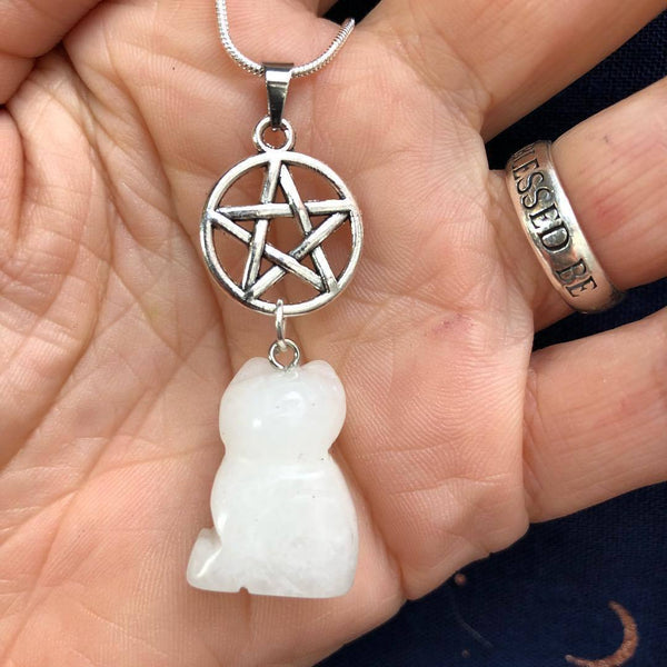 Jewellery,Home & Outdoor Decoration,Witch & Spell Craft Snowy Quartz / Chain Cats Of The Craft Necklace