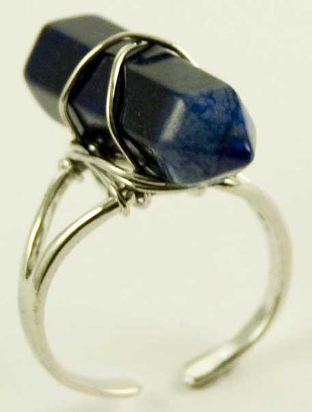 Jewellery Lapis Lazuli Crystal Point Energy Ring
