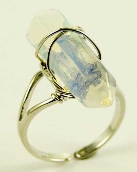Jewellery Opalite Crystal Point Energy Ring