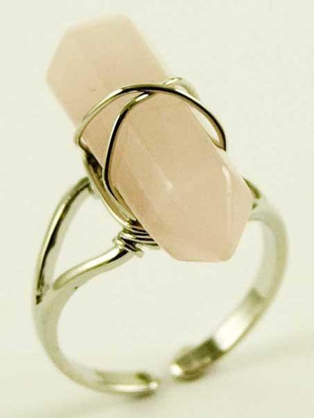 Jewellery Rose Quartz Crystal Point Energy Ring
