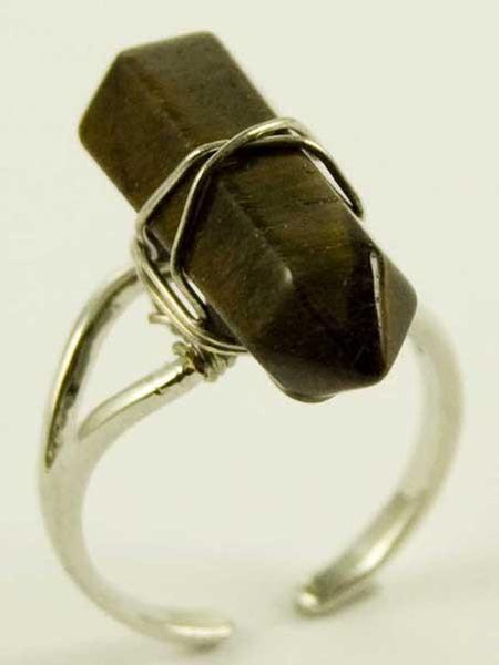 Jewellery Tigers Eye Crystal Point Energy Ring