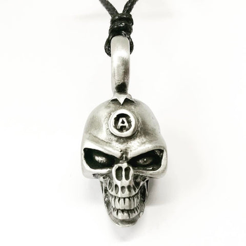 Jewellery,Witch & Spell Craft Chain Anarchy Skull Necklace ~ Pewter