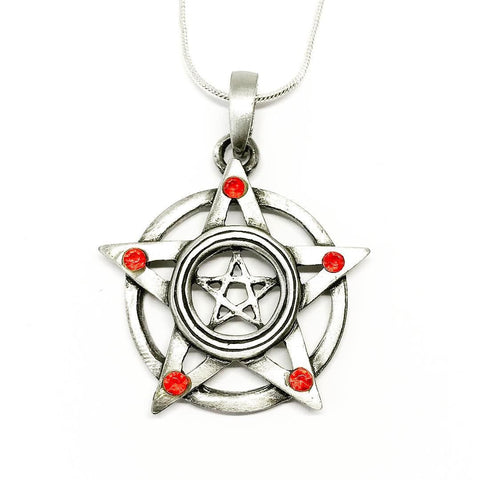 Jewellery,Witch & Spell Craft Chain Fire Pentacle Necklace ~ Pewter