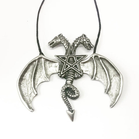 Jewellery,Witch & Spell Craft Chain Hinged Wing Dragon Necklace ~ Pewter
