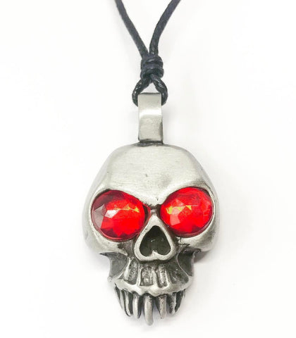 Jewellery,Witch & Spell Craft Chain Jewel Eyed Skull Necklace ~ Pewter