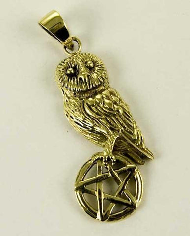 Jewellery,Witch & Spell Craft Owl On Pentagram Necklace