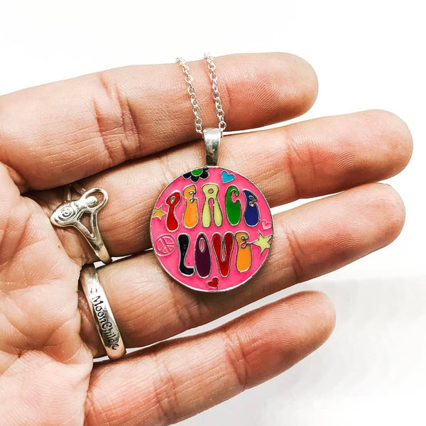 Jewellery,Witch & Spell Craft Peace & Love Necklace