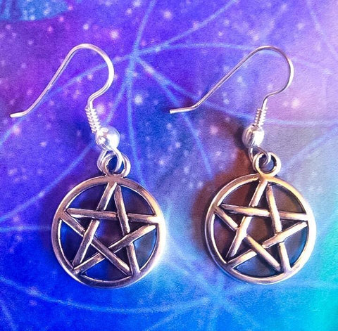 Jewellery,Witch & Spell Craft Pentacle Earrings