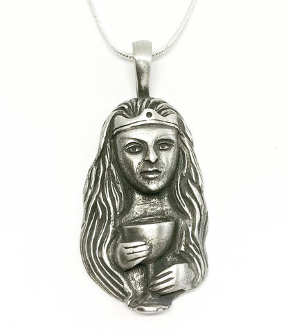 Jewellery,Witch & Spell Craft Silver Plated Chain Chalice Goddess Necklace