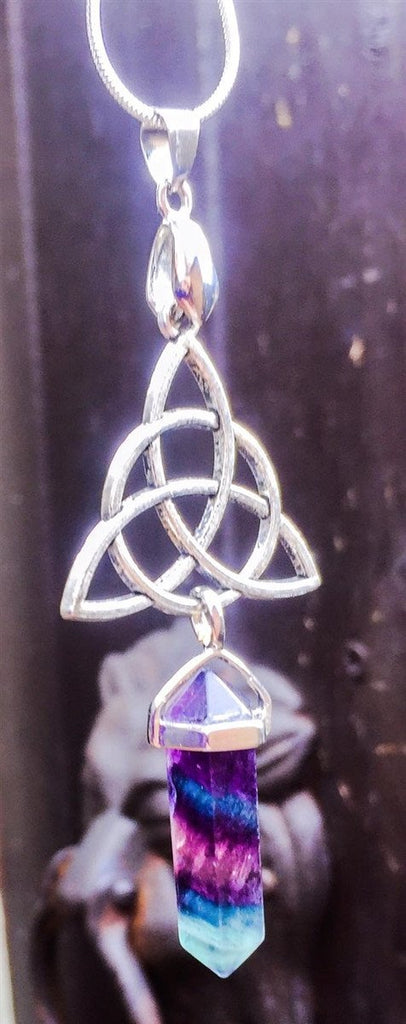Jewellery,Witch & Spell Craft Silver Plated Chain Fluorite Aura Necklace