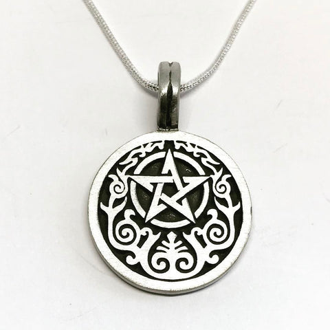 Jewellery,Witch & Spell Craft Silver Plated Chain Forest Pentacle Necklace
