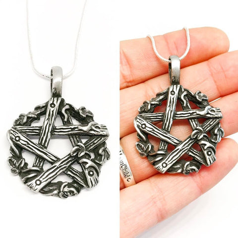 Jewellery,Witch & Spell Craft Silver Plated Chain Ivy Pentagram Necklace