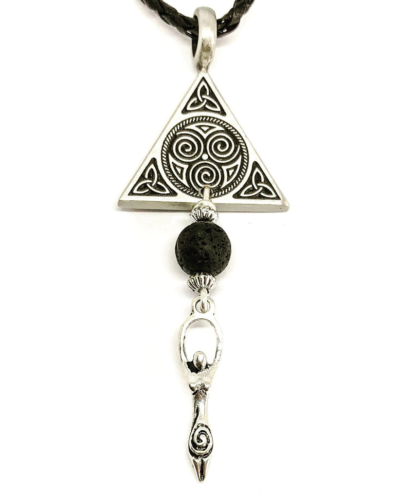 Jewellery,Witch & Spell Craft Silver Plated Chain Lava Stone Triskellion Necklace