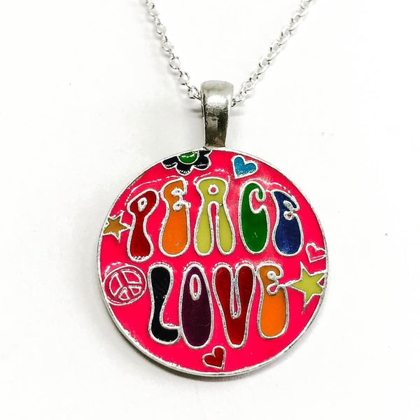 Jewellery,Witch & Spell Craft Silver Plated Chain Peace & Love Necklace