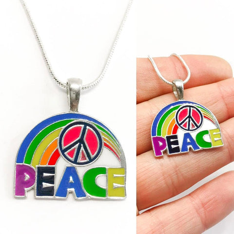 Jewellery,Witch & Spell Craft Silver Plated Chain Rainbow Peace Necklace