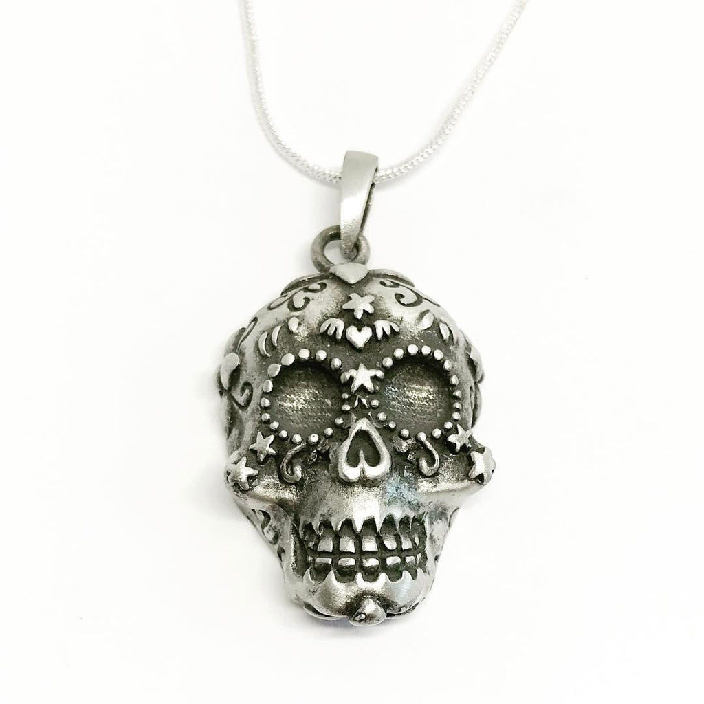 Jewellery,Witch & Spell Craft Silver Plated Chain Sugar Skull Necklace