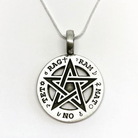 Jewellery,Witch & Spell Craft Silver Plated Chain TET Pentagram Necklace