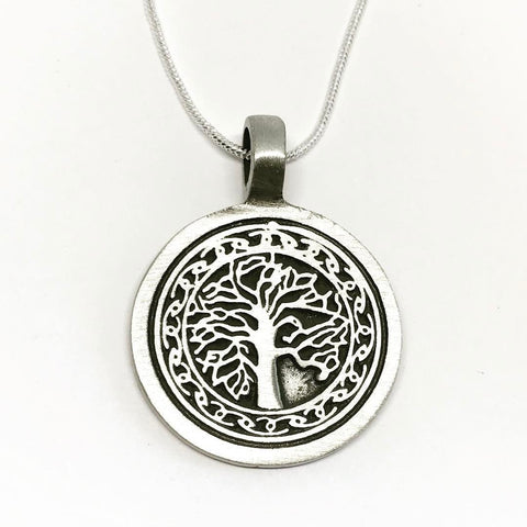 Jewellery,Witch & Spell Craft Silver Plated Chain Tree Of Life Knot Work Necklace