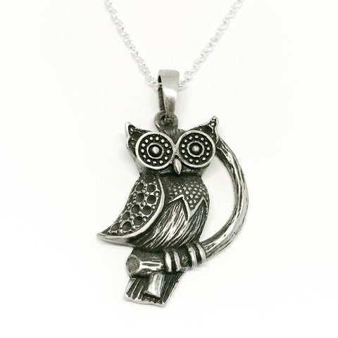 Jewellery,Witch & Spell Craft Silver Plated Chain Wise One Owl Necklace
