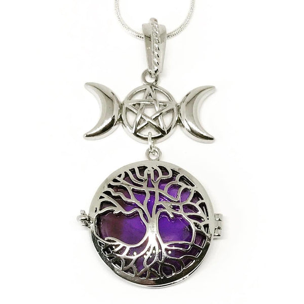 Witch & Spell Craft,Jewellery Silver Plated Snake Chain / Amethyst Tree Of Life Crystal Keeper Locket