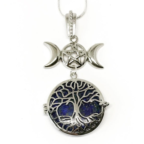 Witch & Spell Craft,Jewellery Silver Plated Snake Chain / Lapis Lazuli Tree Of Life Crystal Keeper Locket