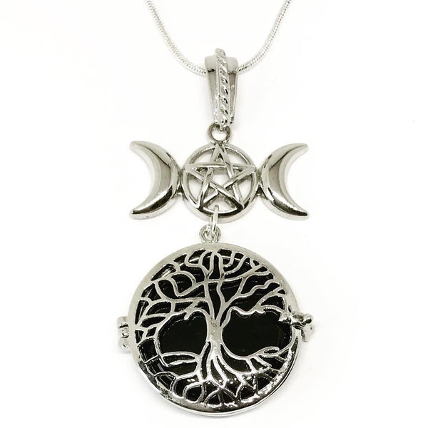 Witch & Spell Craft,Jewellery Silver Plated Snake Chain / Onyx Tree Of Life Crystal Keeper Locket