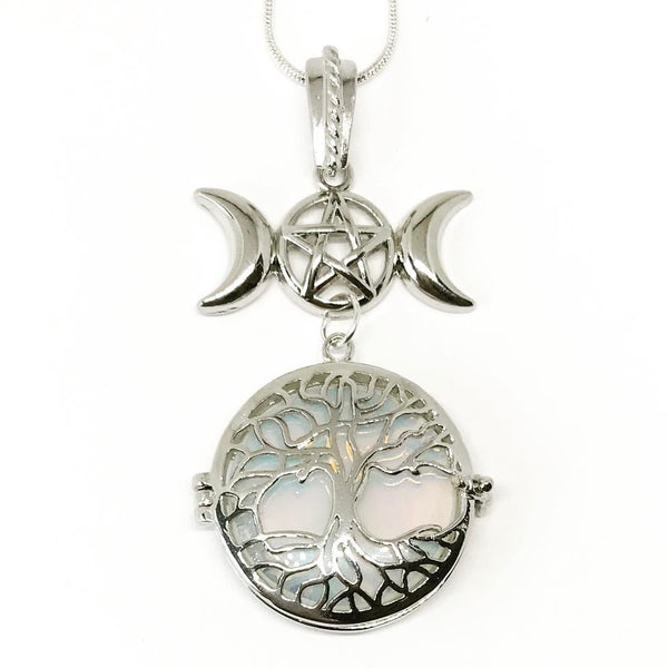 Witch & Spell Craft,Jewellery Silver Plated Snake Chain / Opalite Tree Of Life Crystal Keeper Locket