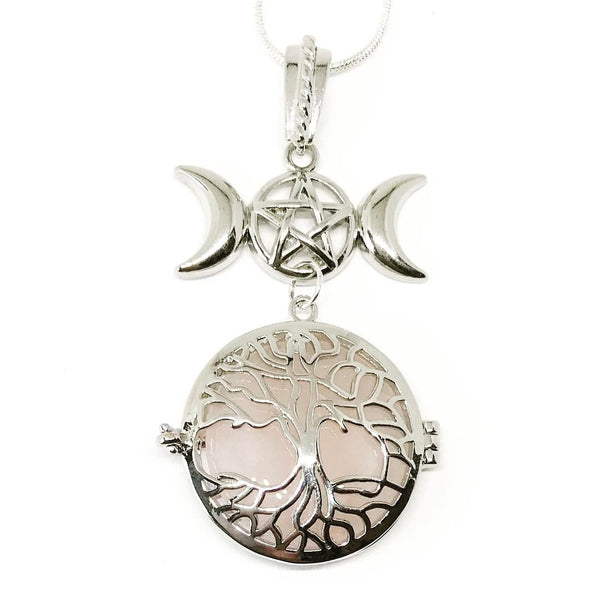 Witch & Spell Craft,Jewellery Silver Plated Snake Chain / Rose Quartz Tree Of Life Crystal Keeper Locket