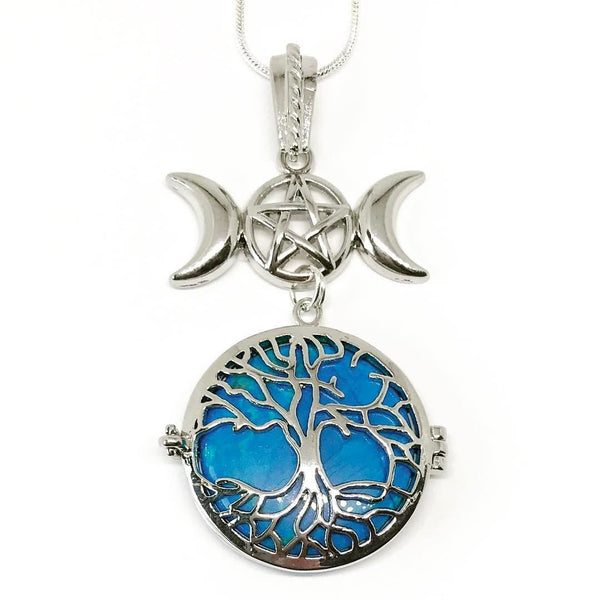 Witch & Spell Craft,Jewellery Silver Plated Snake Chain / Turquoise Tree Of Life Crystal Keeper Locket