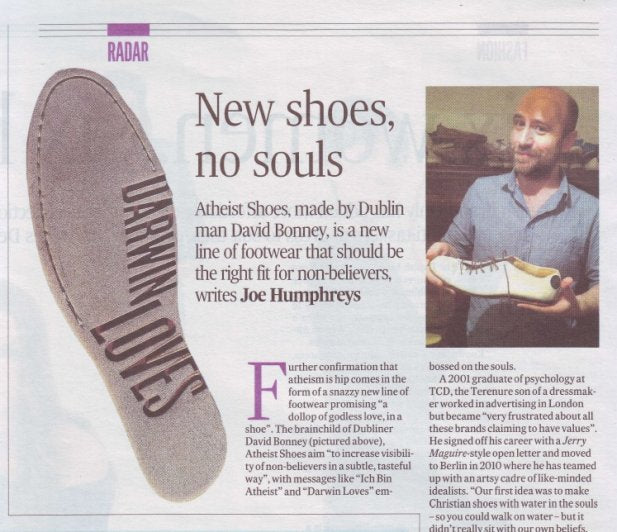 Atheist Shoes in the Irish Times!