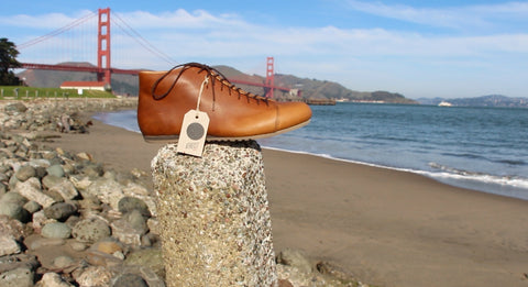 Atheist pull up leather Cognac Boot with San Francisco's Golden Gate Bridge in the background.