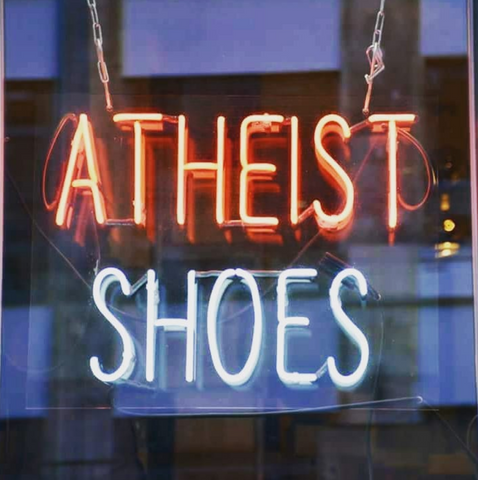 Atheist shoes neon shop sign