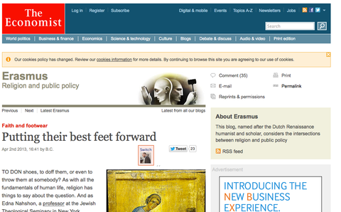 Atheist Shoes featured on The Economist website.