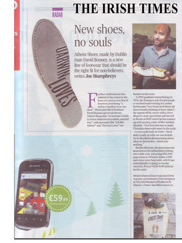 Atheist Shoes featured in The Irish Times.