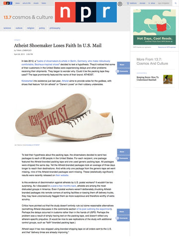 Atheist Shoes featured on NPR.