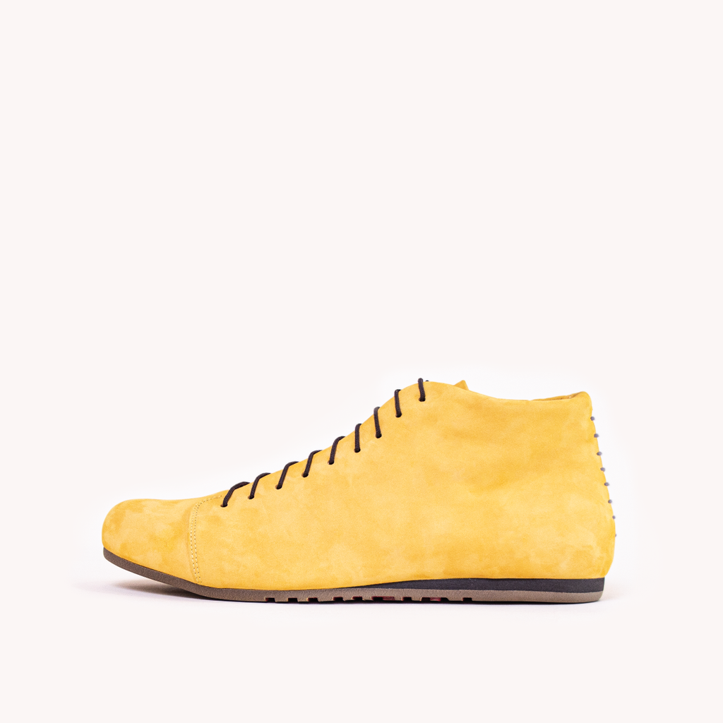 Atheist shoes - side view of Das Honey Ochre Boot - ridiculously comfortable nubuck leather shoes, handmade in Portugal