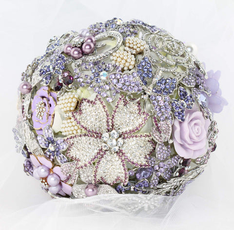 Bridal Brooch Bouquet Silver & Purple Brooches Handmade - Bride Glamor