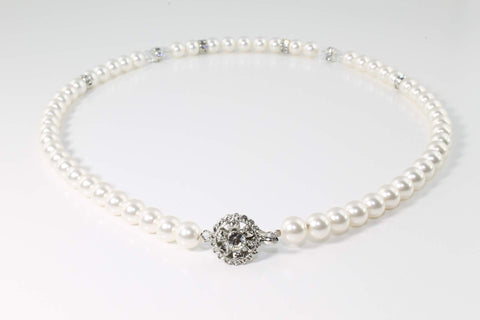 Pearl Necklace Swarovski Pearls & Crystals Handmade -  Bride Glamor