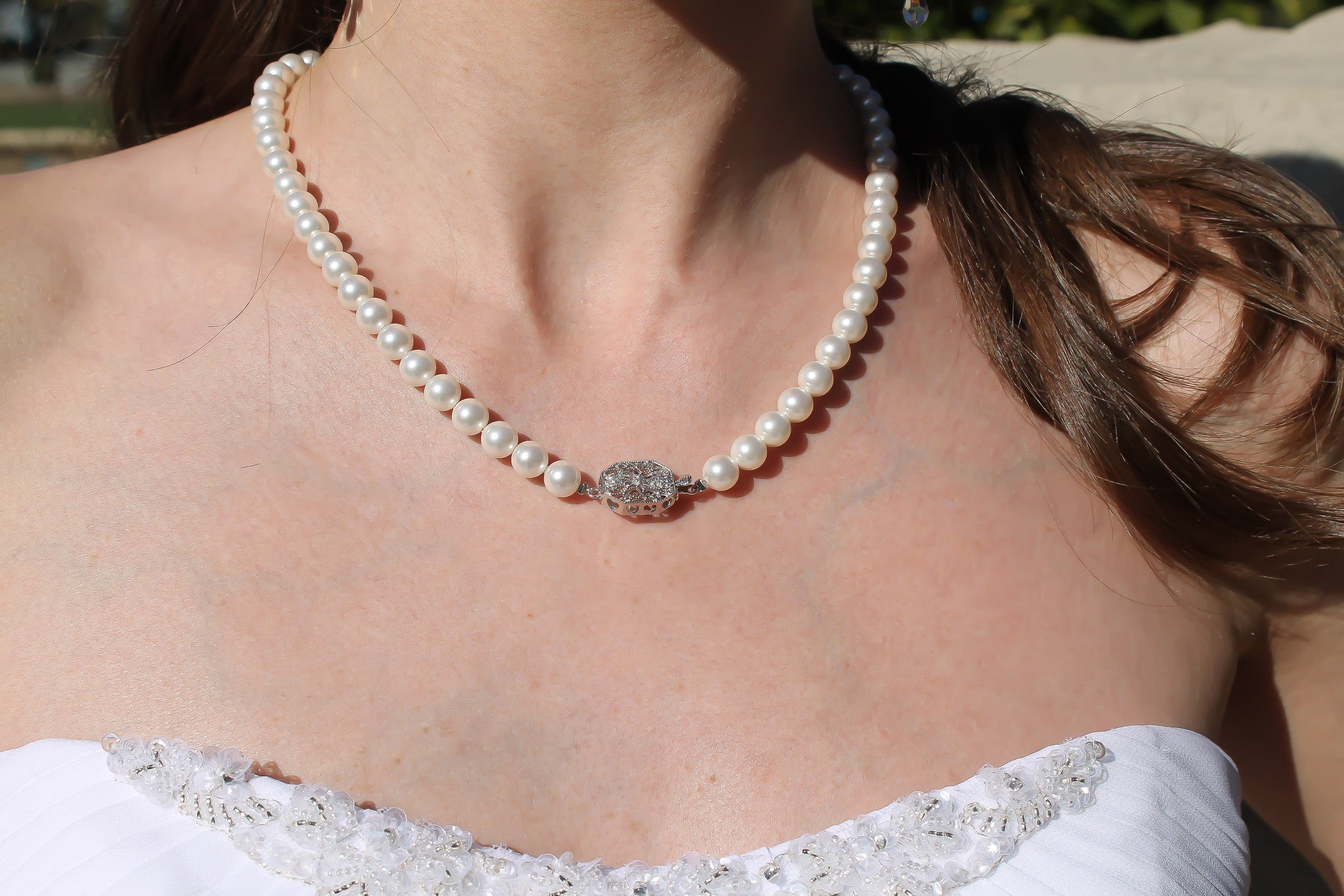 Pearl Necklace Swarovski Pearls Sterling Silver Handmade- Bride Glamor