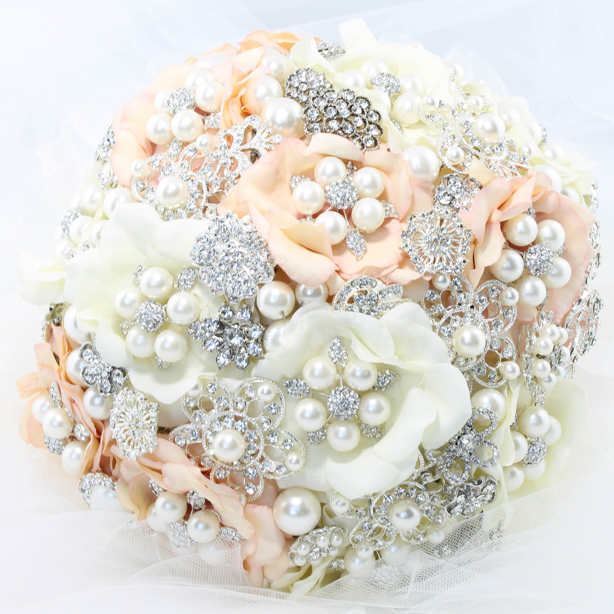 Brooch Bouquet Handmade Fabric Flowers Faux Pearls Bride Glamor