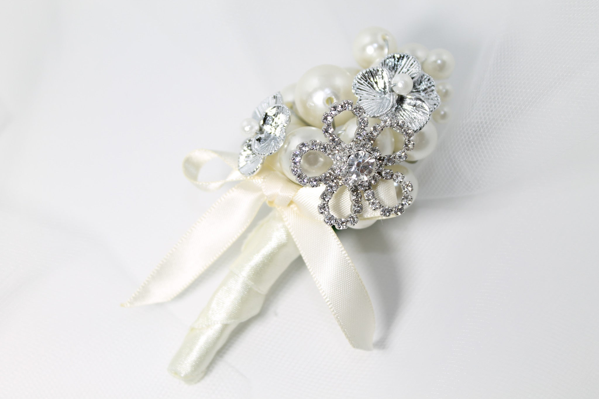 Bridal Boutonniere Handmade Silver with Faux Pearls - Bride Glamor