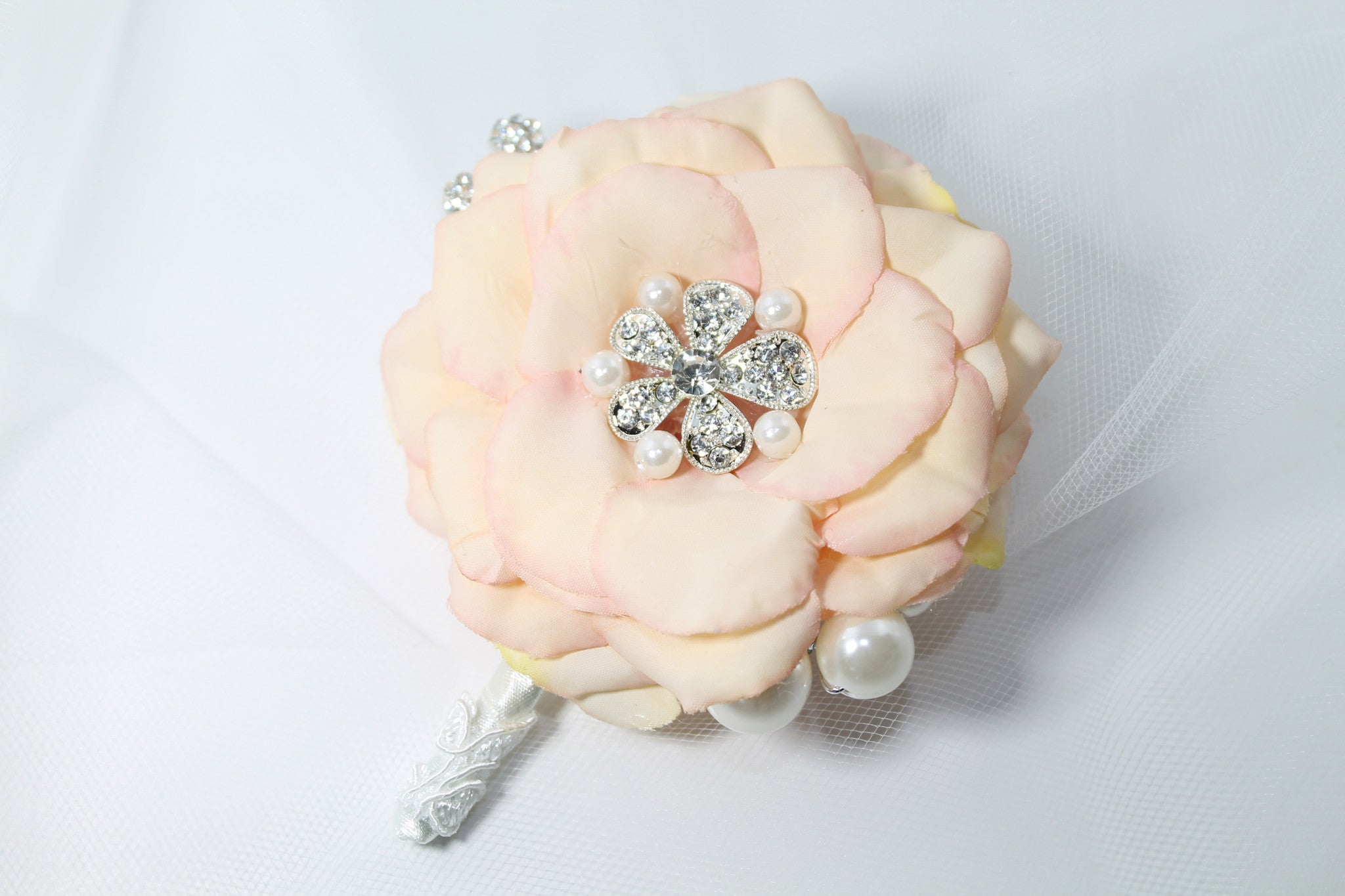 Brooch Bouquet Handmade Fabric Flowers Faux Pearls - Bride Glamor