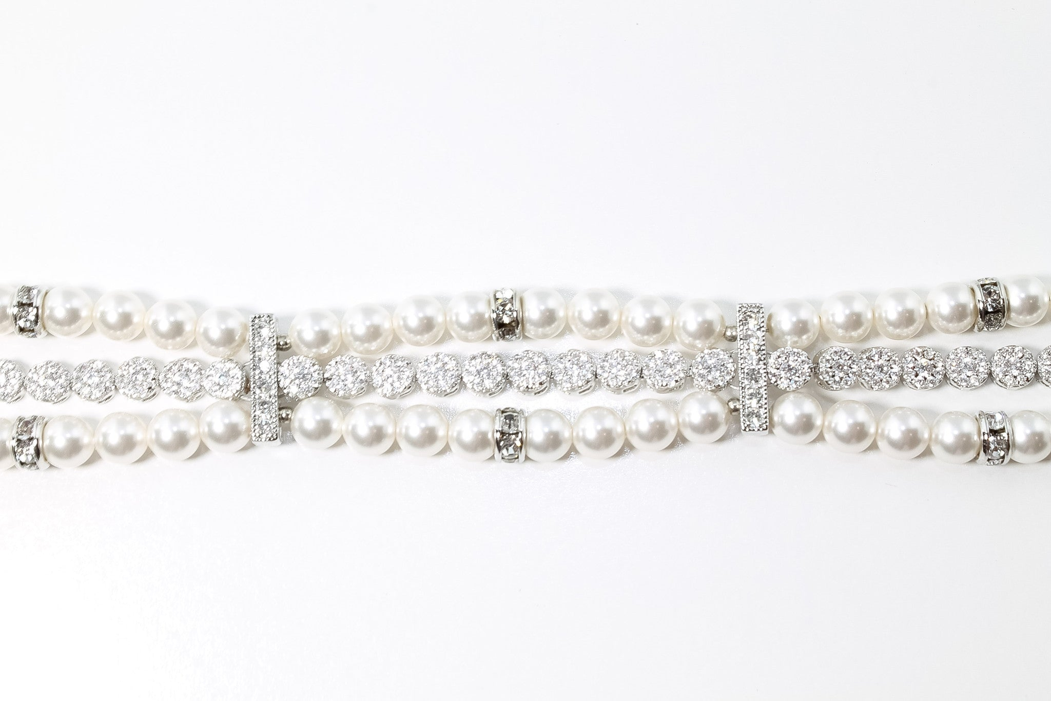 Wedding Bracelet Handcrafted with Swarovski Pearls and Cubic Zirconia - Bride Glamor