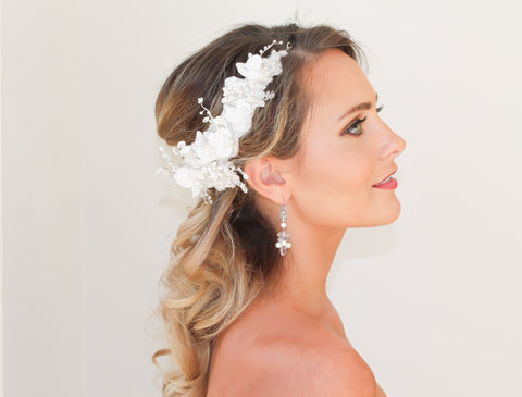 Bridal Hair Band - Lace and Swarovski Pearls - Bride Glamor