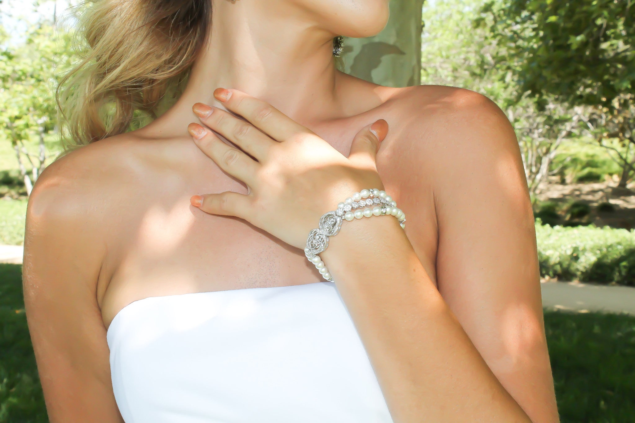 Bridal Bracelet Handcrafted with Swarovski Pearls and Cubic Zirconia - Bride Glamor