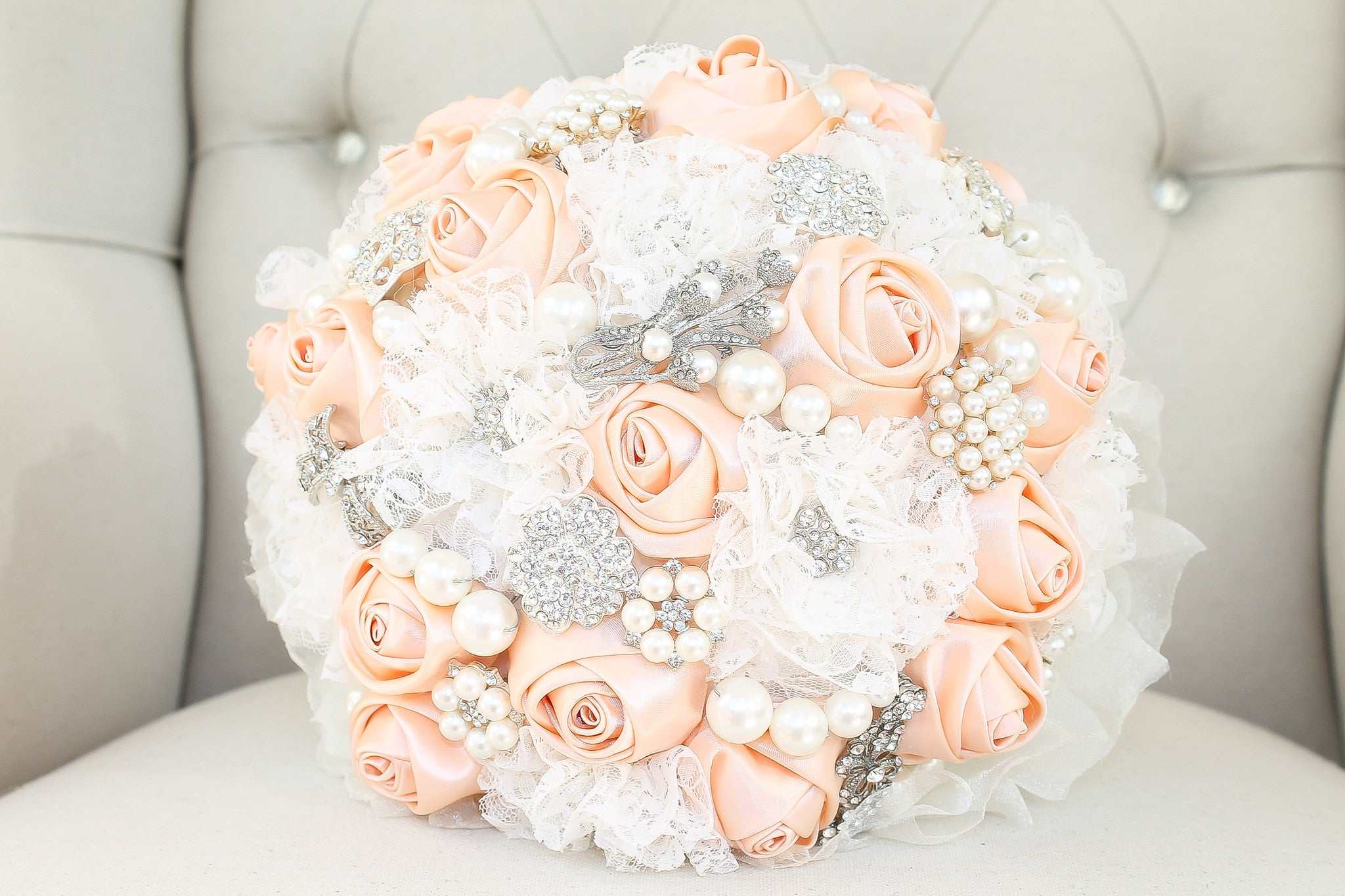 Brooch Bouquet Handmade Lace Satin Ribbon Faux Pearls - Bride Glamor