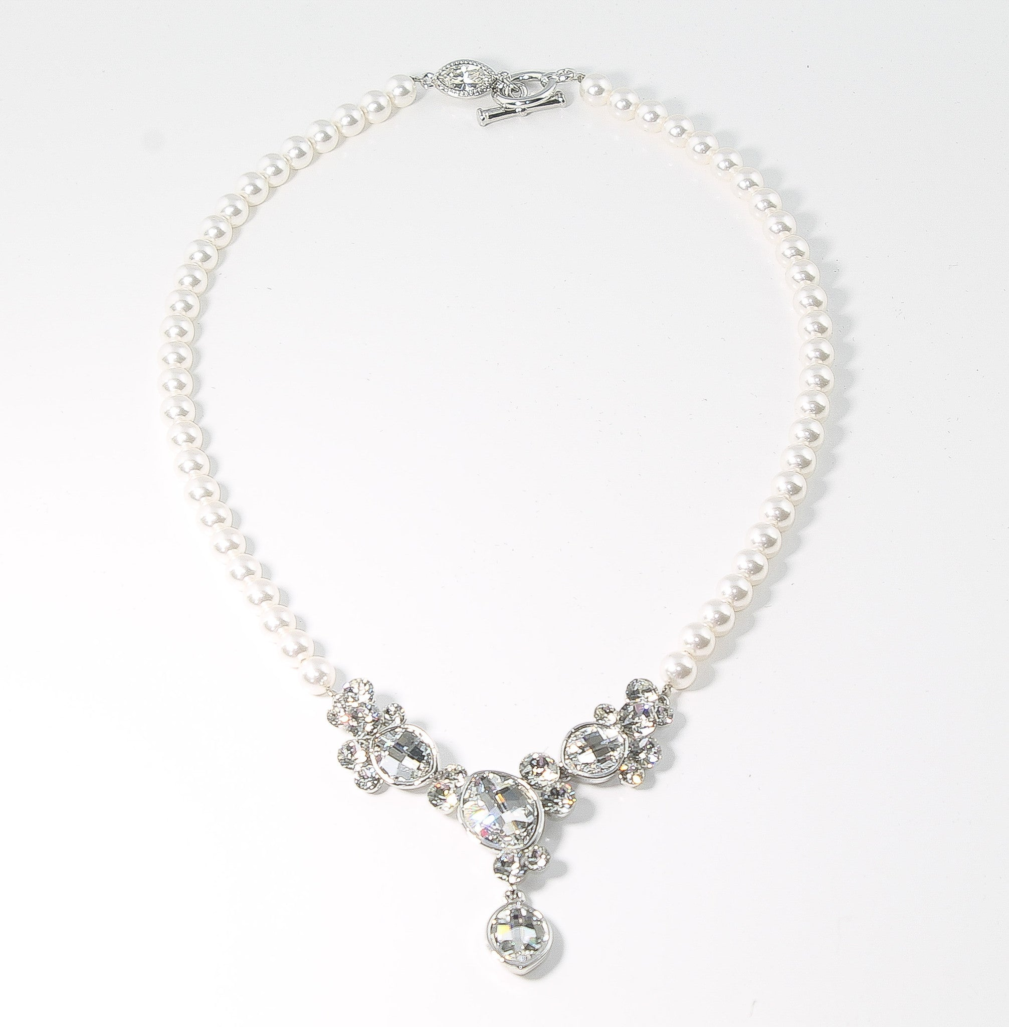 Wedding Necklace Handcrafted Swarovski Crystals and Pearls