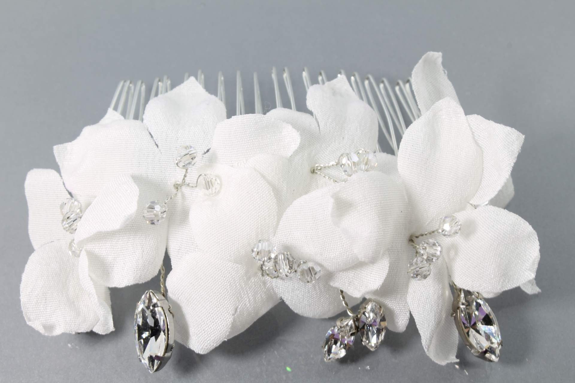 Wedding Hair Accessories Swarovski Crystals Silk Flowers-Bride Glamor