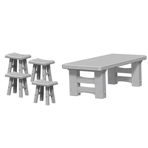 Wooden Table and Stools Unpainted Wizkids HD Mini